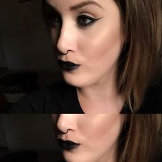 Vamp. Dark Lips. Moon Child. @ashleefelkner on Instagram #makeup #amfmakeup #vamp #halloween #blacklips #witch #glow