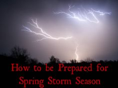 Spring Means Storm Season...Are You Prepared?