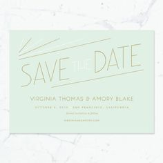 Carlyle Deco Save the Date Print-it-Yourself by southelliott / mint and gold wedding / 20s style