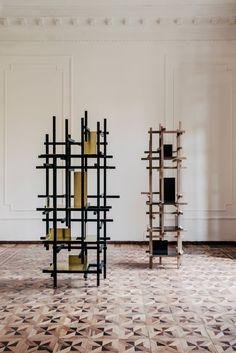 Esrawe Studio's Sleek Shelves Draw Inspiration From Scaffolding, Rietveld And Mondrian - IGNANT Mondrian, Vertical, Scaffolding, Repurposed Furniture, Design Firms, Interior Architecture, Interior Design, Furniture Design, Inspiration