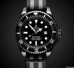 Rolex Titan Black Deep Sea: Fathom $21,690 #Rolex #watch #watches #luxury #chronograph steel case with textile bracelet and automatic movement / waterproof up to 12800ft/3900m