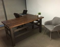 The Brooklyn Executive L shape desk - Modern Industrial Office Design Best Office, Open Office, Tiny Office, Rustic Desk, Rustic Office, Rustic Chair, Rustic Kitchen, Office Interior Design, Office Interiors
