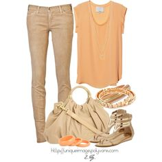 Peach & Tan, created by uniqueimage on Polyvore