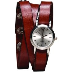 AEO Leather Wrap Watch (€25) ❤ liked on Polyvore featuring jewelry, watches, accessories, bracelets, american eagle, leather wrap watch, leather wrist watch, leather jewelry, wrap watch and leather watches