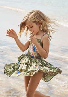 Sweet As Pie Shirred Play Dress Eve Floral Khaki Young Girl Fashion, Preteen Girls Fashion, Girls Fashion Clothes, Little Girl Fashion, Girly Girl Outfits, Cute Little Girls Outfits, Little Girl Models, Girls Short Dresses, Cute Girl Dresses