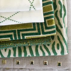 Color Trend: Emerald.  We love Fabricut Fabrics. Stop in to browse their beautiful books.