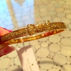 NWT! Kate Spade Gold Glitter Bangle This bangles can make any outfit sparkle. You have to get this before it's gone! It would make the PERFECT holiday gift.  kate spade Jewelry Bracelets