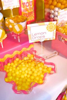 You are my sunshine birthday party lemon drop candy!  See more party planning ideas at CatchMyParty.com!
