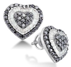 14K White Gold Large Invisible Micro Pave Set Round & White and Black Diamond Heart Stud Earrings with Screw Back Closure - (1.50 cttw) Sonia Jewels. $889.00. Pure, Real & Natural Diamonds - 1.50 Total Diamond Carat Weight. 14k White Gold GUARANTEED, Authenticated with a 14k Stamp. *** FREE Standard Shipping ***. *** FREE Velvet Earrings Box ***. Save 72% Off!