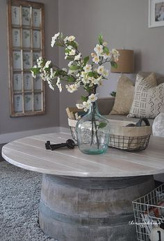Vintage French Soul ~ Wine Barrel Coffee Table, Make An Easy Wine Barrel Coffee Table, Farmhouse Coffee Table Made Easy, DIY Wine Barrel, Farmhouse Coffee Table DIY Diy Coffee Table, Decor, Rustic Furniture, Diy Table, Old Baskets, Barrel Coffee Table, Coffee Table, Barrel Table, Coffee Table Farmhouse