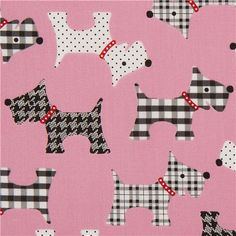 pink patterned dog animal fabric by Robert Kaufman USA 1