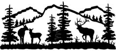 Bull, Cow and Baby Elk Silhouette for Mural on Wall in Nursery