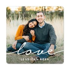 Modern Scripted Love Magnet by Shutterfly. Add joy to your refrigerator, dishwasher, file cabinets and more with our personalized photo magnets. Casual Engagement Photos, Engagement Announcement Photos, Engagement Photo Outfits, Engagement Photo Inspiration, Engagement Couple, Winter Engagement Pictures, Engagement Shoots, Photo Poses For Couples, Couple Picture Poses