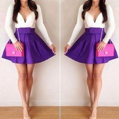 Sexy Plunging Neck Long Sleeve Spliced Bowknot Embellished Dress For Women