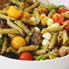 This caprese pasta with whole wheat penne and Italian sausage is a lighter, protein packed twist on the classic. It's got just enough pasta to satisfy a craving but still be considered low carb. Summer Pasta Recipes, Healthy Summer Dinner Recipes, Clean Dinner Recipes, Healthy Weeknight Dinners, Italian Sausage Pasta, Italian Sausages, Caprese Pasta, Pasta Salad, Clean Dinners
