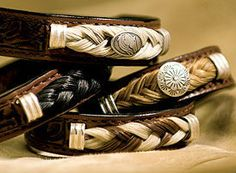 Unique Tooled Leather Bracelets Accented with Authentic Horse Hair - A Western look, via Etsy. Horse Hair Bracelet, Horse Hair Jewelry, Hair Jewellery, Jewlery, Leather Tooling, Tooled Leather, Leather Jewelry, Leather Bracelets, Cowgirl Outfits