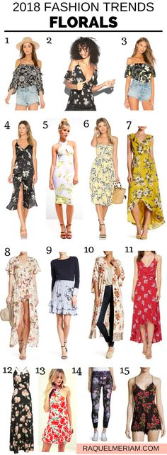 2018 Fashion Trends: Florals #spring #summer #fashiontrends #2018 #workoutfits #florals #dress #skirt #pants