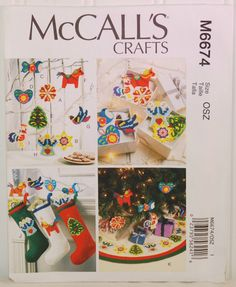 McCall's Crafts M6674 (c. 2012) Sewing Pattern For Christmas Decorations, Tree Skirt, Stocking, Holiday Gift Ideas, Family Tradition, Xmas by TooHipChicks on Etsy