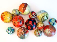 BALLS for the Wall, a series of spheres for a wall installation. Acrylic, ink drawing on paper mache over a plastic form,  6 and 4 inch.  (c) 2015 Barbara Gilhooly
