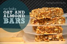 No-Bake Oat and Almond Bars (Vegan, Gluten-Free) Healthy Vegan Snacks, Delicious Vegan Recipes, Yummy Snacks, Raw Food Recipes, Healthy Bars, Healthy Baking, Vegan Food, Vegan Energy Bars, Protein Bars