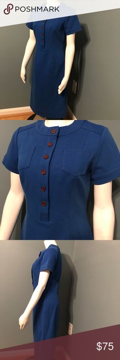 Diane Von Furstenberg  Azure Blue Quincy Dress 8 Short sleeve structured dress with stretch. Size 8. Rounded neck. 6 brown buttons down chest. Pockets on both side of chest. Darted back for flattering shape. Diane Von Furstenberg Dresses Midi