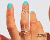 Double Chain  Knuckle Ring - Chain Silver Ring - Unique Ring  - Minimalist Ring - Stackable Ring - Chain Midi Ring  - Sterling Silver  Ring
