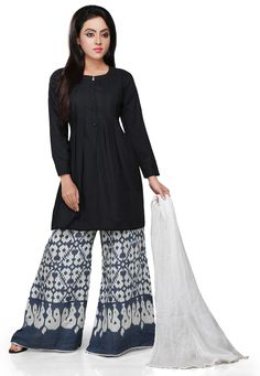 BLACK COTTON READYMADE KAMEEZ WITH PALAZZO