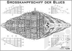 blues battleship; 1338 NGZ (ngt); radius 560 meters, height 453 meters;  regular manning 3100.