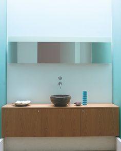 Mayfair Mews House, London. Guest bathroom with hand made ceramic basin. Gavin Jackson Architects.
