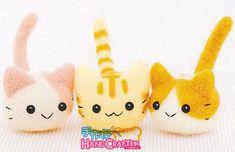 Kit fai da te a mano in feltro di lana tre piccolo gatto - pacchetto kit giapponese H441-367