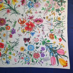 Vintage Gucci Scarf Navy Flora Pattern with Original Price Tag 7