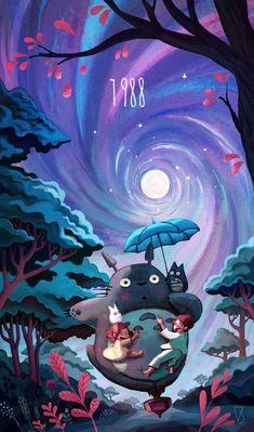TOTORO Here is the of my 8 tributes to Hayao Miyazaki. 1988 My Neighbour Totoro. Art of youcoucou, vincent belbari Hayao Miyazaki, Studio Ghibli Films, Art Studio Ghibli, Anime Disney, Castle Movie, Personajes Studio Ghibli, Art Anime, My Neighbor Totoro, Howls Moving Castle