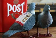 plastic carrier pigeon that you can stick in the mail! Place your message in the supplied pouch, put the stamps on it, and pop it in the blue mail box on your corner! The bird will arrive at its destination to the delight and awe the recipient.
