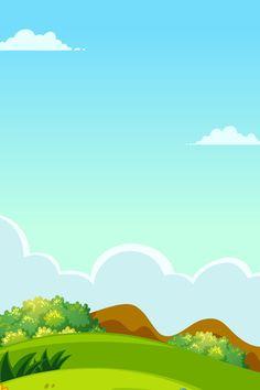 Blue Sky White Clouds Hill Cartoon Kids Background, New Background Images, Blue Sky Background, Cartoon Background, Watercolor Background, Night Illustration, Forest Illustration, Landscape Illustration, Powerpoint Background Design