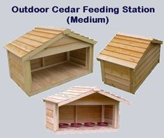 The outdoor Cedar Feeding Station - Large is the perfect solution for keeping your animals food clean and dry. Whether you have one animal or many we have the solution with three different sizes to choose from. Outside Cat Shelter, Outside Cat House, Outdoor Cat Shelter, Cats Outside, Heated Outdoor Cat House, Cat Feeding Station, Cat Enclosure, Cat Sleeping, Chickens Backyard