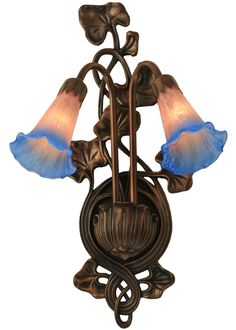 """11""""W Pink/Blue Pond Lily 2 Lt Wall Sconce"""