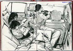 Artist: JungGi Kim (김정기)  #Yellowmenace: Sketches of Daily Life (28 Images) http://yellowmenace8.blogspot.com/2015/06/art-sketch-master-kim-junggi.html
