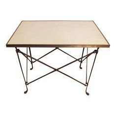 Global Views Directoire Brass & White Marble Table