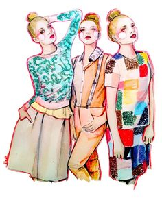 Fashion illustration by PaperFashion - Perfectly Mismatched. #Pattern #Print
