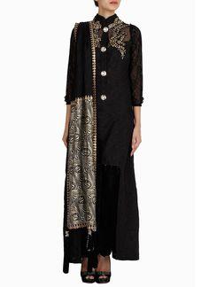 Regalia By Deepika Black Straight Pant Suit