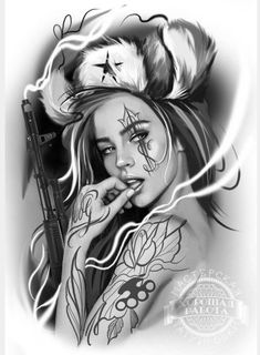Wings down side and birds and roses on other side shading around the rest Chicano Art Tattoos, Body Art Tattoos, Girl Tattoos, Sleeve Tattoos, Catrina Tattoo, Cholo Art, Girl Face Drawing, Lowrider Art, Aztec Art