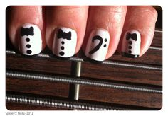 """Nail Art  Essie ~ """"Marshmallow""""  Accents~ Hand Painted Tux & Bass Clef in black.  https://www.facebook.com/photo.php?fbid=189307677861751=a.158056720986847.32542.158048860987633=1"""