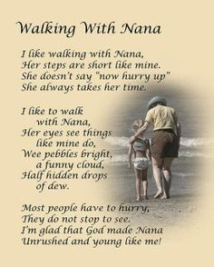 """""""Walking with Nana."""" Dale Kincaid Sold A x Print of """"Walking with Nana"""" to A Buyer From Eustace, Texas, USA. Grandma Quotes, Nana Poems, Daughter Quotes, Sister Quotes, Nephew Quotes, Poems For Grandma, Poem For My Mom, Grandkids Quotes, Quotes About Grandchildren"""