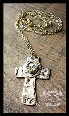 Gold Hammered Cross Bullet Jewelry Bullet Necklace by ScarlettSage, $21.50