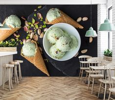 Wall Murals - Wallpaper - U. Delivery Page 2 Cream Restaurant, Deco Restaurant, Gelato Bar, Gelato Shop, Cafe Interior Design, Cafe Design, Pistachio Ice Cream, Marshmallow Sauce, Ice Cream Quotes