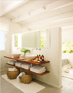 This Bathroom Decor Suggestion makes it really easy to provide your bathroom a f. This Bathroom De Bad Inspiration, Bathroom Inspiration, Interior Inspiration, Bathroom Renos, Laundry In Bathroom, Bathroom Baskets, Open Bathroom, Bamboo Bathroom, Bathroom Modern