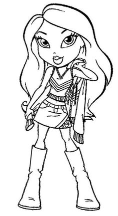 bratz posing sweater coloring pages for kids printable bratz coloring pages for kids