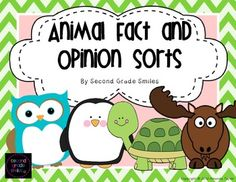 Animal Fact and Opinion Sorts - includes eight cut and paste sorts designed to help students practice distinguishing facts from opinions. These are perfect for literacy centers or a quick skill assessment and would be a great addition to an animal unit. $ #factandopinion