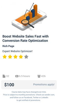 Boost Website Sales Fast with Conversion Rate Optimization | Seeder offers perhaps the most dense collection of high quality online courses on the Internet. Over 13,800 courses, monthly discounts up to 92% off, and every course comes with a 30-day money back guarantee.
