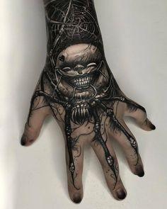 Evil Tattoos, Scary Tattoos, Wicked Tattoos, Mommy Tattoos, Hand Tattoos For Guys, Badass Tattoos, Hand Tats, Body Art Tattoos, Tattoo Life